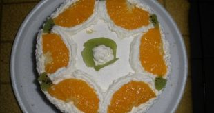 Kiss cake with oranges and cream