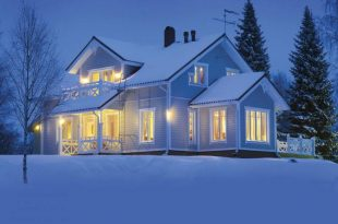 A prefabricated house in the winter