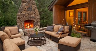 Stone fireplace for your yard