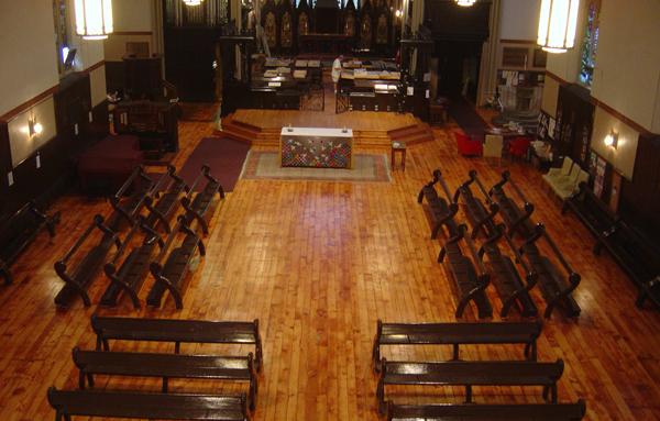 Hardwood flooring in a Church